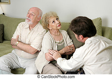 Counseling - Not Speaking - A senior couple in marriage...