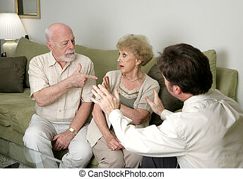 Counseling - Stop Arguing - A senior couple in counseling...