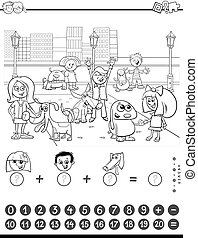 count and add task for kids color book