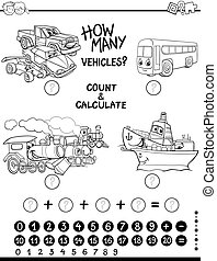 count and calculate coloring page - Black and White Cartoon...