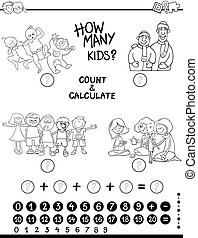 count and calculate game coloring page - Black and White...