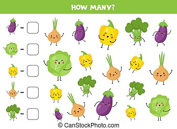 Count cute kawaii vegetables and write down the answer. - ...