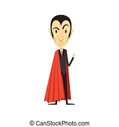 Count Dracula, angry vampire in suit and red cape