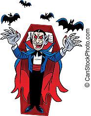 Count Dracula. Halloween - The illustration shows a cartoon...