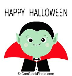 Count Dracula headwearing black and red cape. Cute cartoon vampire character. Green face with fangs. Happy Halloween. Greeting card. Flat design. White background. Isolated.