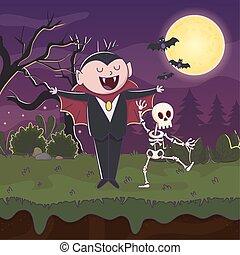 count dracula skeleton bats moon night halloween