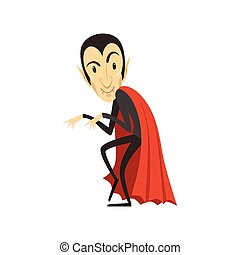 Count Dracula, sneaking vampire in black suit and red cape