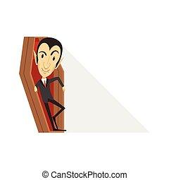Count Dracula, vampire in black suit in coffin