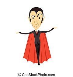 Count Dracula, vampire standing in suit and red cape