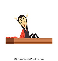 Count Dracula, vampire waking up in the coffin