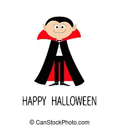 Count Dracula wearing black and red cape. Cute cartoon vampire character with fangs. Happy Halloween. Flat design. White background. Isolated.