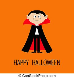 Count Dracula wearing black and red cape. Cute cartoon vampire character with fangs. Happy Halloween. Flat design. Orange background.