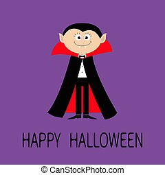 Count Dracula wearing black and red cape. Cute cartoon vampire character with fangs. Happy Halloween. Flat design. Violet background.