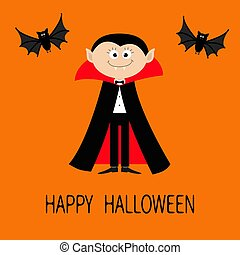 Count Dracula wearing black and red cape. Cute cartoon vampire character with fangs. Two flying bat animal. Happy Halloween. Flat design. Orange background.