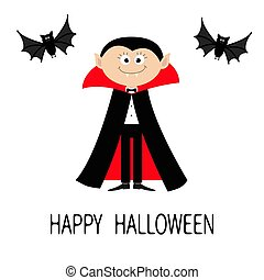 Count Dracula wearing black and red cape. Cute cartoon vampire character with fangs. Two flying bat animal. Happy Halloween. Flat design. White background. Isolated.