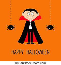 Count Dracula wearing black and red cape. Cute cartoon vampire character with fangs. Two hanging spider insect. Dash line web. Happy Halloween. Flat design. Orange background.