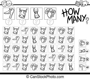 count farm animals coloring page - Black and White Cartoon...