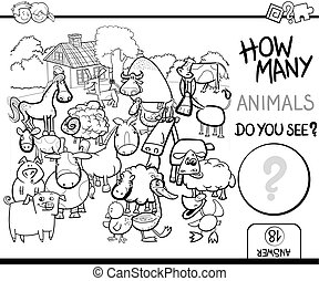 count farm animals for coloring - Black and White Cartoon...