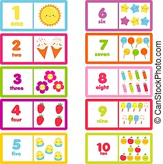 Count from one to ten. Cute characters and numbers. Educational learning card for children, kids, toddlers.