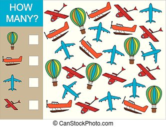 Count how many object of air transport  counting educational game