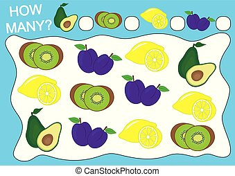 Count how many fruits. Educational game for preschool children. Vector illustration.