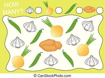 Count how many objects of vegetables. Educational game for preschool children. Leisure activity. Vector illustration.