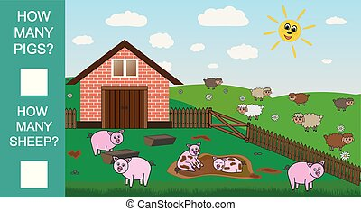 Count how many pigs and sheep, educational mathematical game. Counting game for preschool children. Vector illustration.