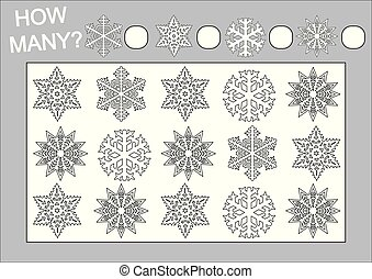 Count how many snowflakes and color them. Educational game for kids. Vector illustration.