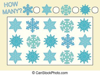 Count how many snowflakes. Educational game for kids. Vector illustration.