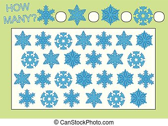 Count how many snowflakes. Educational game for preschool children. Leisure activity. Vector illustration.