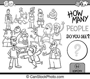 count people task coloring book - Black and White Cartoon...
