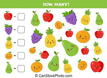 Count the amount of cute kawaii fruits and write down the ...