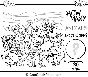 count the animals for coloring - Black and White Cartoon...