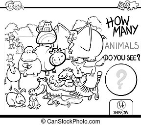 count the animals for coloring - Black and White Cartoon ...