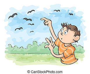 Count the Crows - A young man counts the flying crows.