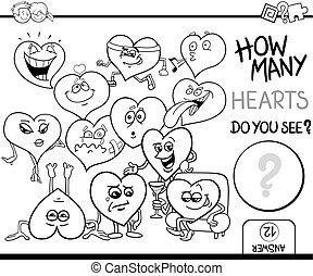 count the hearts for coloring - Black and White Cartoon...