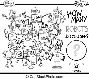 count the robots for coloring - Black and White Cartoon...