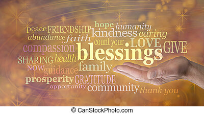 Male hand outstretched with palm facing up and the word 'blessings' floating above surrounded by relevant words in a word cloud on a golden swirling Energy Vortex background