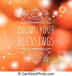 Count your blessings - typographic element
