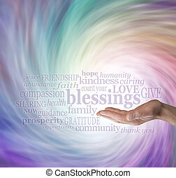 Male hand outstretched with palm facing up and the word 'blessings' floating above surrounded by relevant words in a word cloud on a multicolored swirling Energy Vortex background