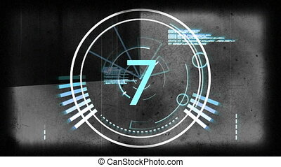 Countdown and digitally generated screen - Close-up of...