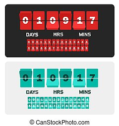 Countdown clock digits board New year and Christmas sale timer. Number counter template banner, all with flips included.