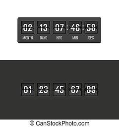 Countdown Clock Timer Set. Vector