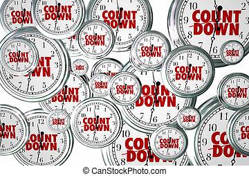 Countdown Clocks Flying Deadline Time Passing Due Date Moment 3d Illustration