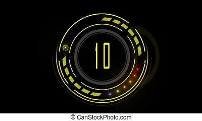 Countdown display yellow