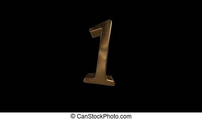 Countdown from 0 to 10. Digit 1. Gold digit 1 with alpha...