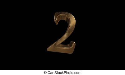 Countdown from 0 to 10. Digit 2. Gold digit 2 with alpha channel.