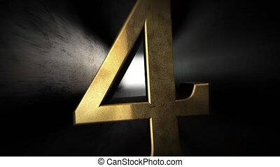 Countdown from 0 to 10. Digit 4. Gold digit 4 with alpha channel. 80