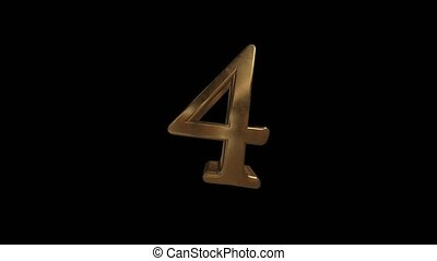 Countdown from 0 to 10. Digit 4. Gold digit 4 with alpha channel.