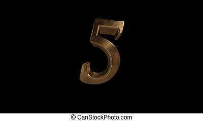 Countdown from 0 to 10. Digit 5. Gold digit 5 with alpha...